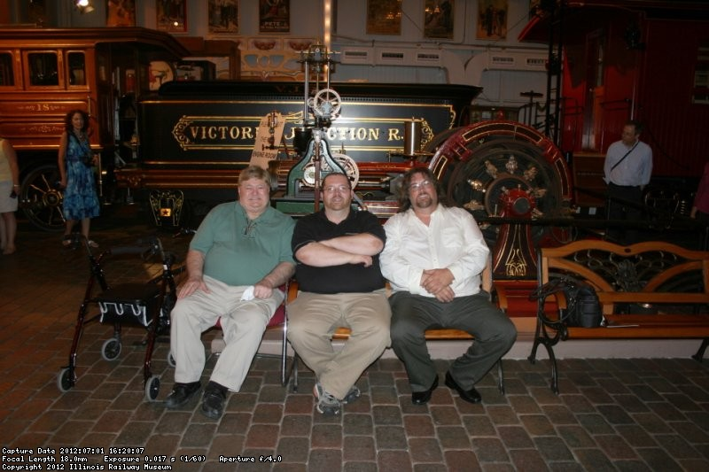 Jeff and Dave with Jasper in front of the Grant locomotive