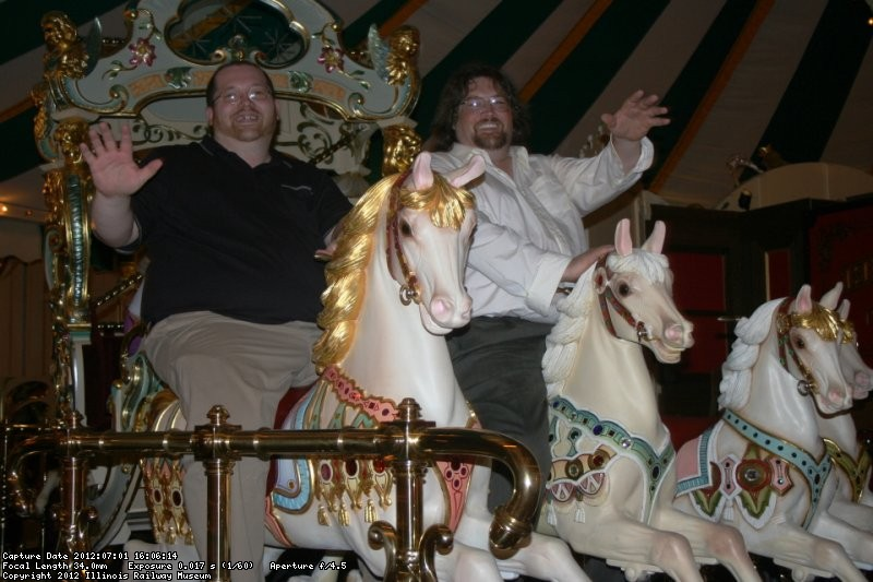 Dave and Jeff rise the carousel