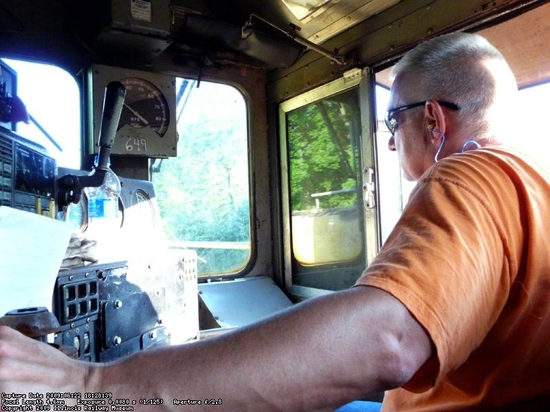 Engineer Dave Hawley handles the UP mainline enroute to the IRM on the UP's Belvidere Sub.