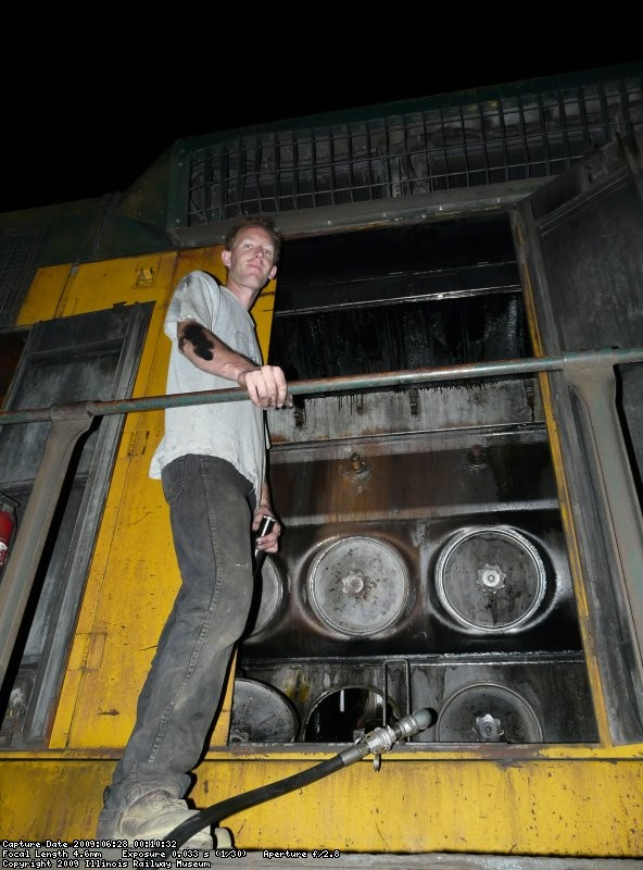 Jamie K pre lubing the locomotive.