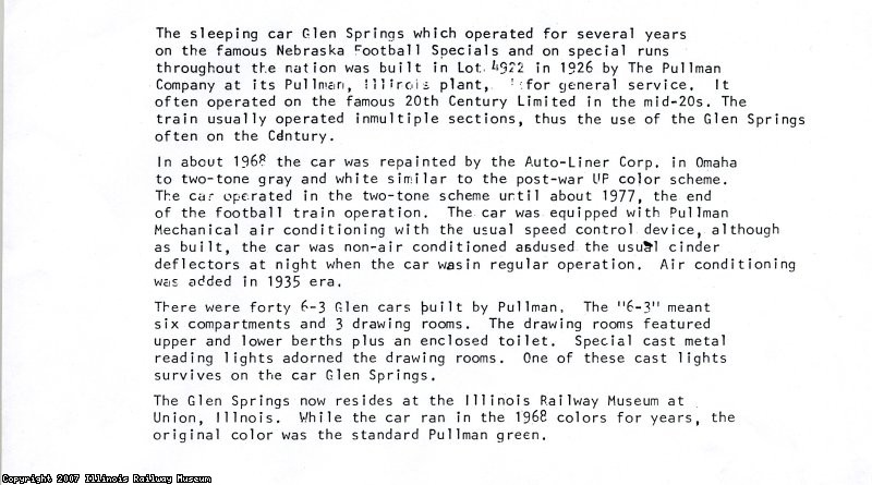 Glen Springs history recd Wm Kratville 4-07