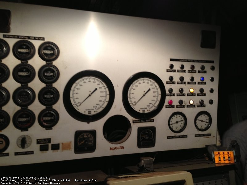 Instrument Panel showing loco throttle position, gen field, and other on/off events. 9/14/13.
