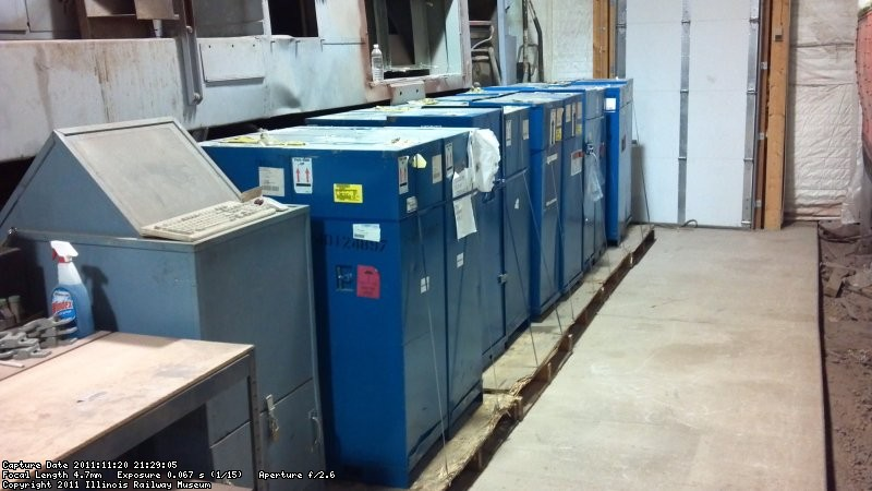 The twenty 645 power assemblies that were donated by Exelon Corp were moved to the south aisle to make room at the east end of the shop.