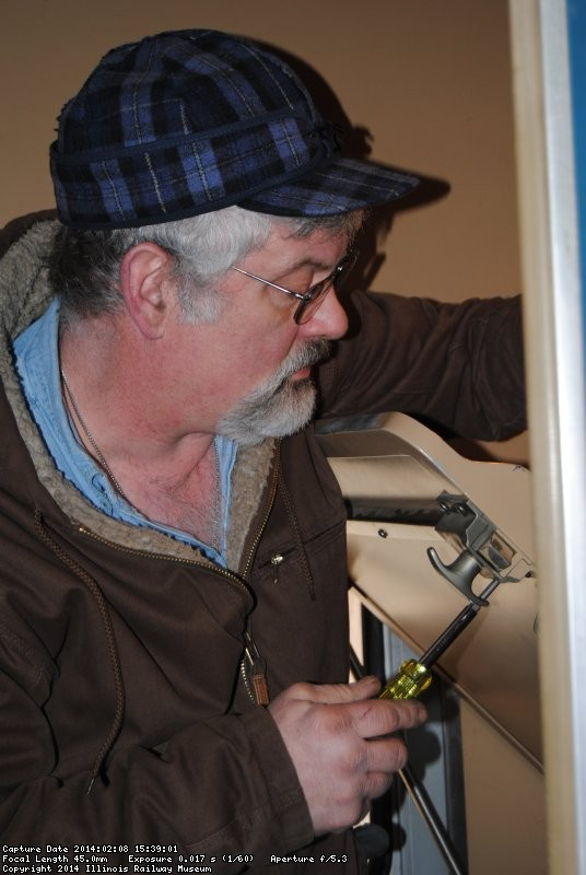 Mike replacing screws in Loch Sloy compartment