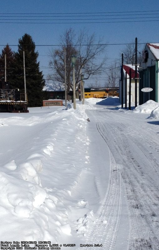 Looking north toward the station with a 10 ft pile of snow by Barn 3 on 2/16/14 from Mike McCraren.