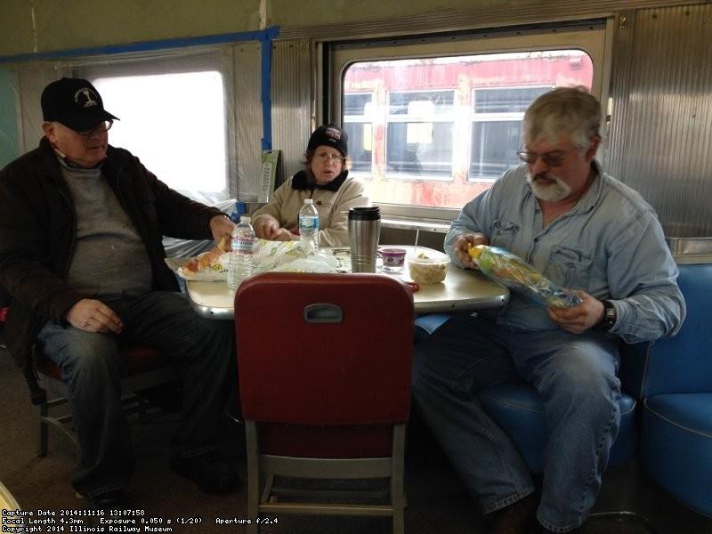Jim Windmeier, Shelly Vanderschaegen, and Michael Baksic at lunch - Photo by Michael McCraren