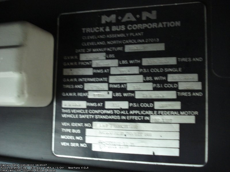 Builder's plate inside the coach