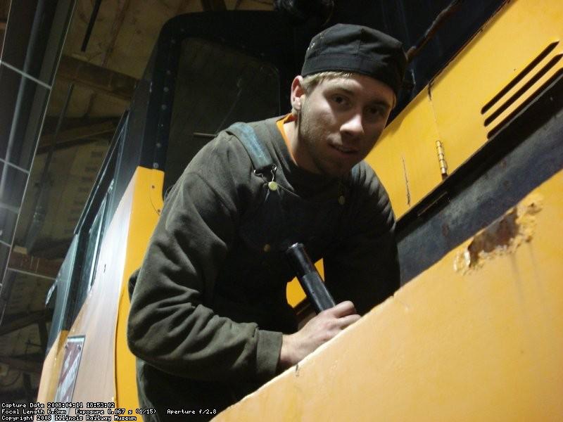 Adam inspecting batteries on Milw. 760