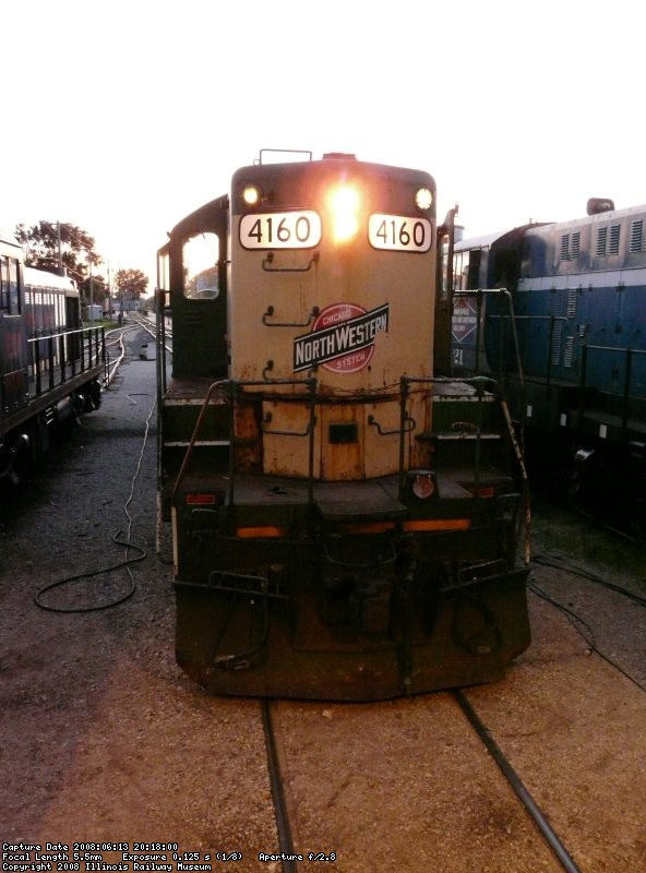 At the end of a very productive day, 4160 sits outside the carbarn looking much better than in the previous months