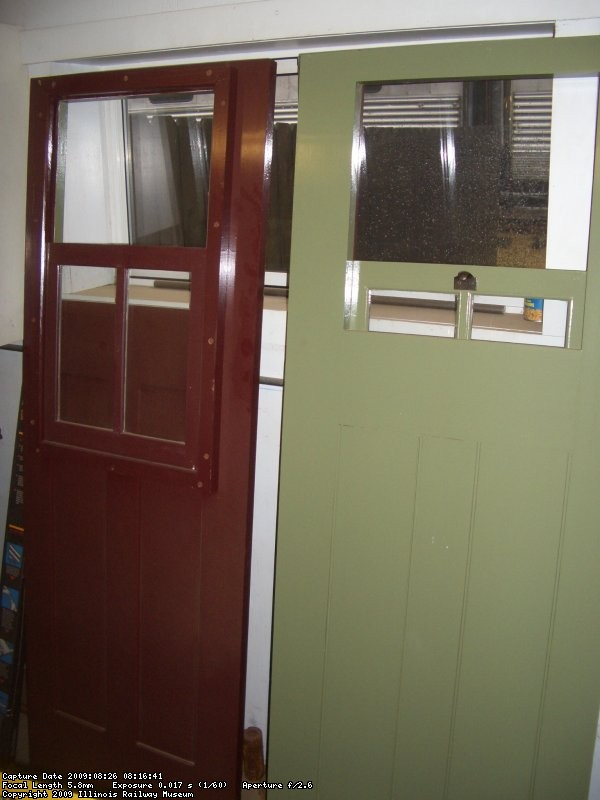 THE DOORS ARE FINISHED AND GLAZED.  THE PHOTO SHOWS THE EXTERIOR COLOR ON THE LEFT AND THE INTERIOR ON THE RIGHT.