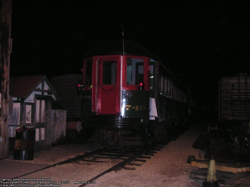 Car 749 on the rear of the 5 car train, sitting on the pit lead