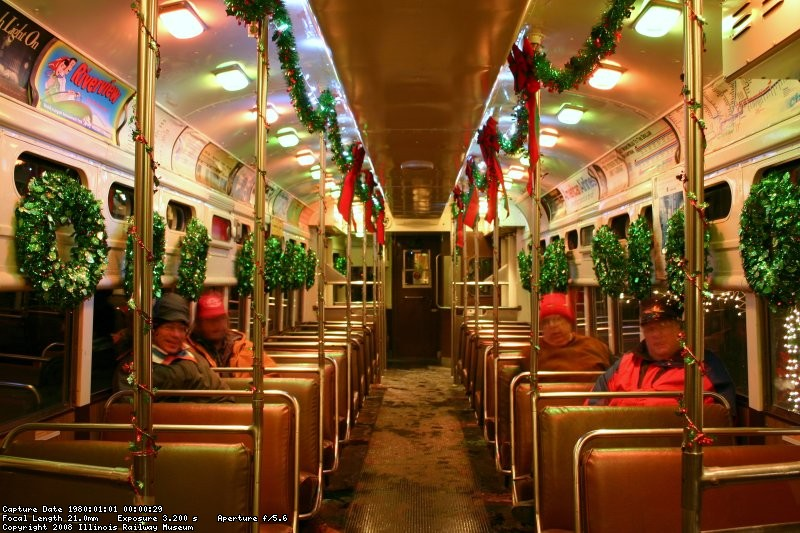 Inside the incredibly well decorated Santa Train