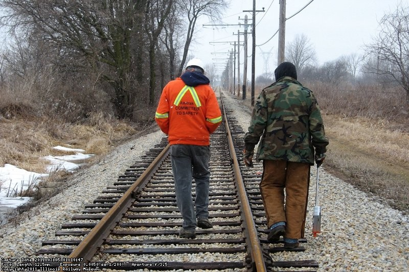 Frank Devries and Bob Olson inspecting tie and rail conditions on the mainline. 3-5-11