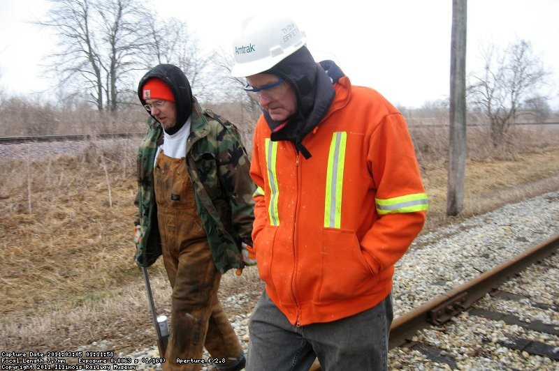 Frank Devries and Bob Olson inspecting mainline track east of Johnson Siding. 3-5-11