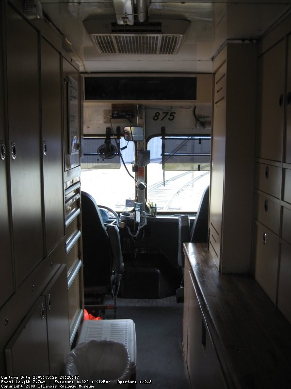 The inside of the truck, looking toward the driver