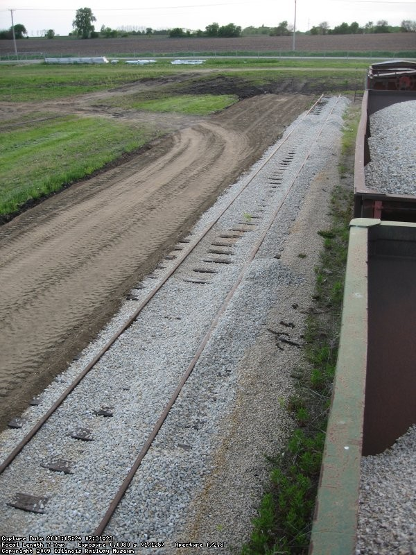 The new grade for the future 11-4 track.  The barn will be built before the track is built