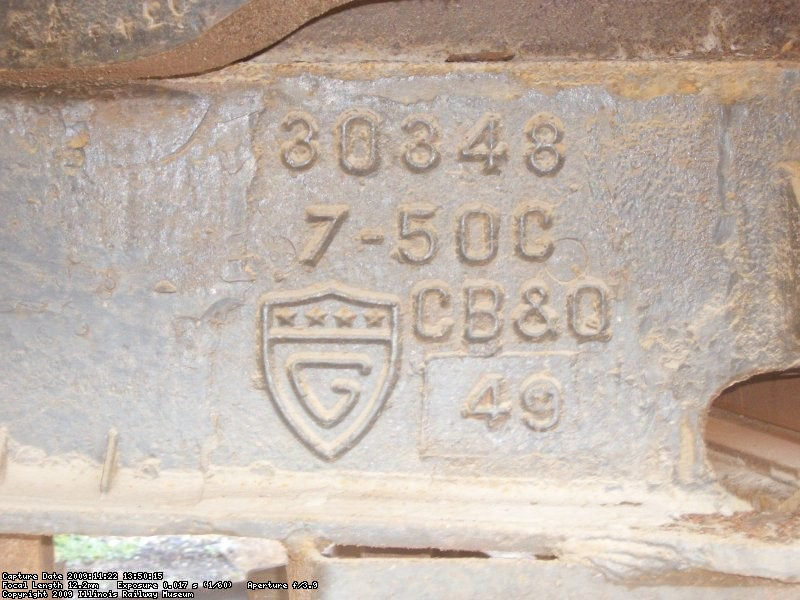 11.22.09 - THIS IS A CLOSE-UP OF THE CASTING INFORMATION.  IT APPEARS TO SHOW THAT THE CASTING WAS MADE IN 1949.  THIS WOULD SEEM TO INDICATE THAT THE CB&Q BUILT THE CAR.