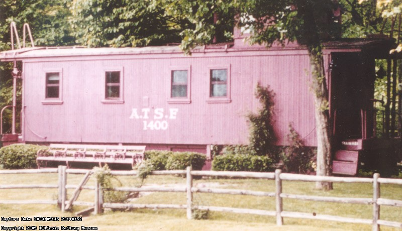 ATSF 1400 as she appeared at the Ryerson estate, now The Ryerson Conservation area. Before coming to the IRM 1400 was a two half-bath pool house. Photo courtesy of the Victor Humphries collection.
