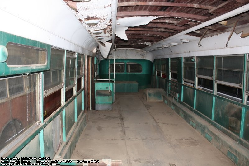A freshly cleaned out interior of the LA Brill 8002 looking toward the rear of the coach.