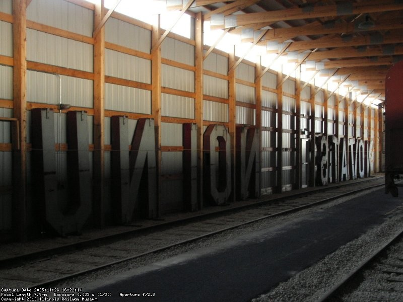 "Another big restoration project, the ""Union Station"" sign in barn 10 (11/2005)."