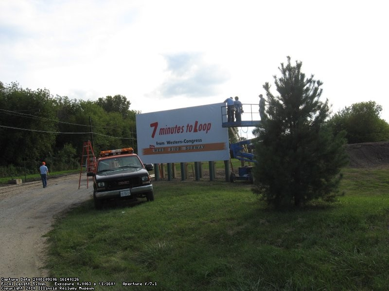 Dave, Tom, Jerry, Les and Wally help with the new billboard along the carline behind the Hoffman Garage (09/06/2008).