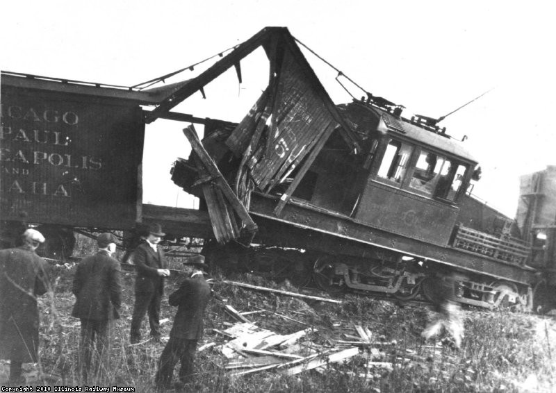 Runaway boxcars wreck locomotive-1919-Ernest Haller Collection
