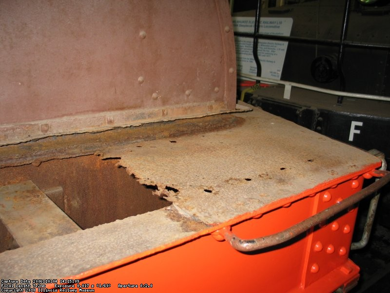 Rusty deck plates are removed
