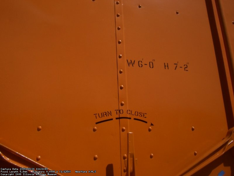 08.29.09 - BOB KUTELLA HAS ADDED MORE STENCILS TO THE RIGHT DOOR, PROVIDING DIMENSIONS AND OPERATING INSTRUCTIONS.