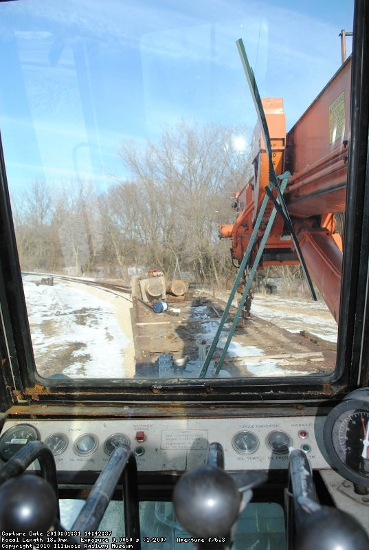 Lookin' out the cab of the Model 50 Burro