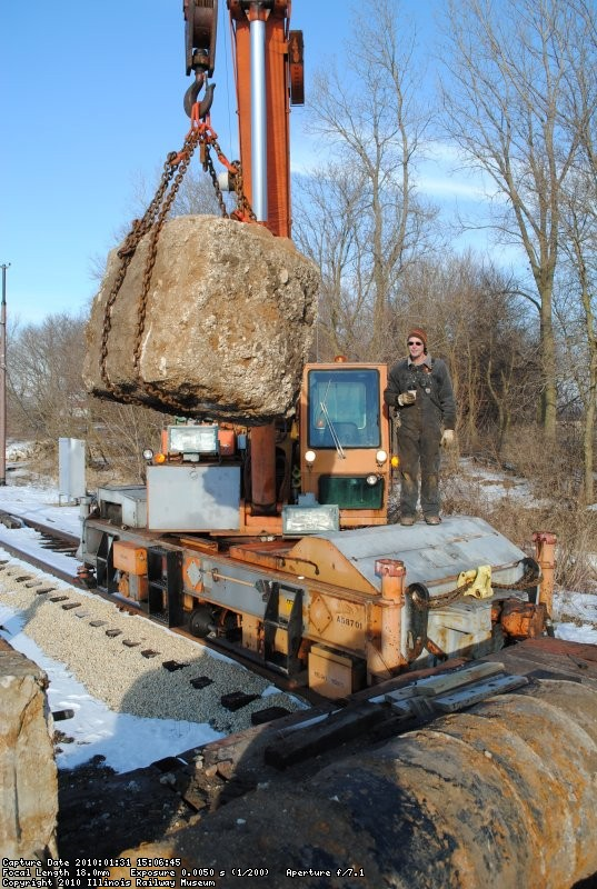 Unloading old signal foundations built by IRM signal dept in 1974