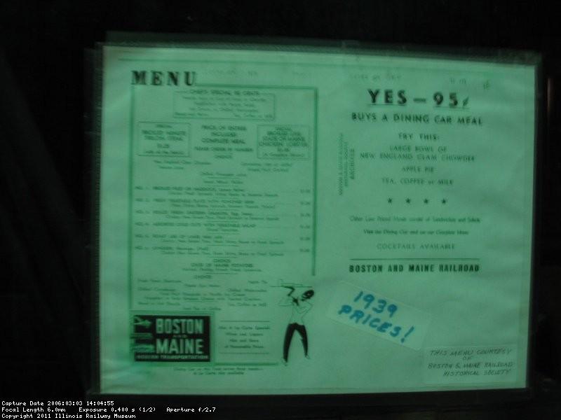 B&M menu 1930s
