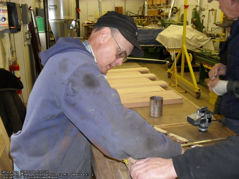 Vic Humphreys working on wood project