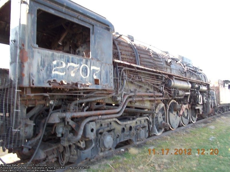 C&O 2707  Notice the steaks of rust and poor condition caused by extreme weather conitions   11-21-12