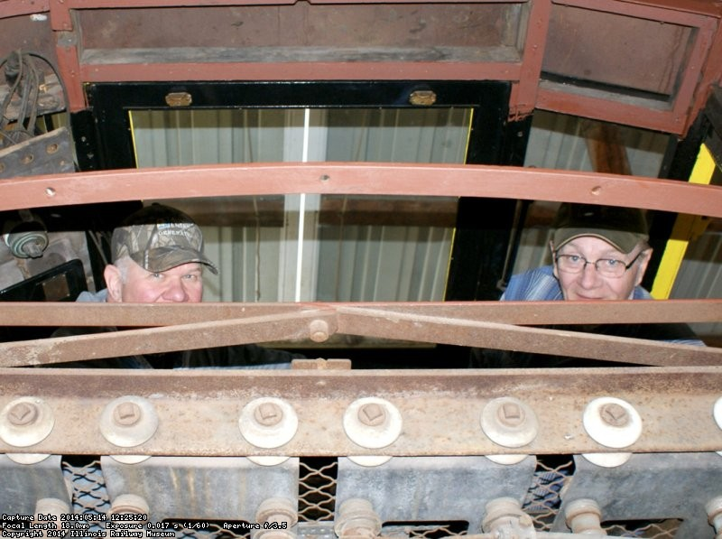 Gery D. and John F. measuring TMER&L D-13 dump car roof