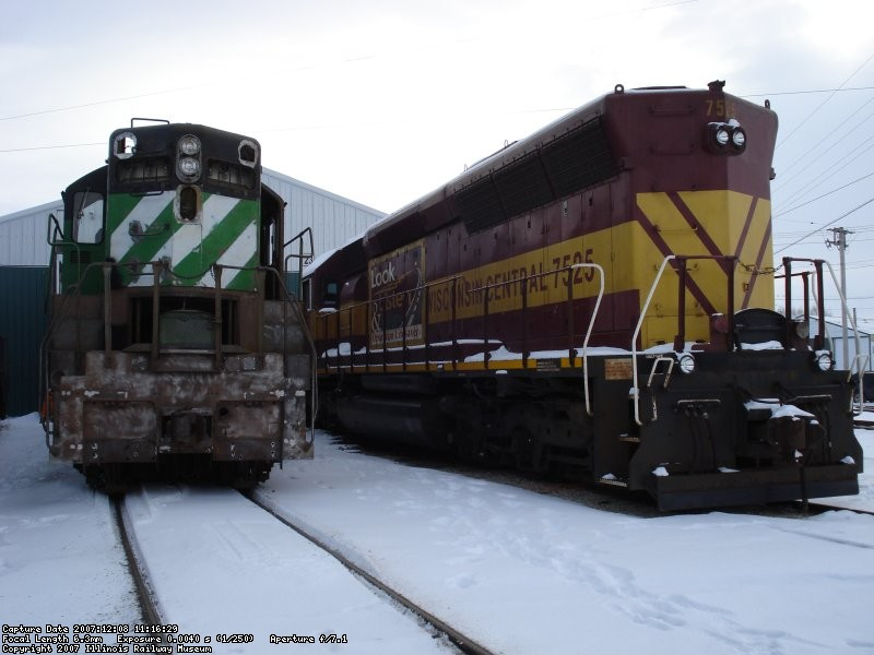 504, an EMD SD24 sits next to WC 7525 an EMD SD45