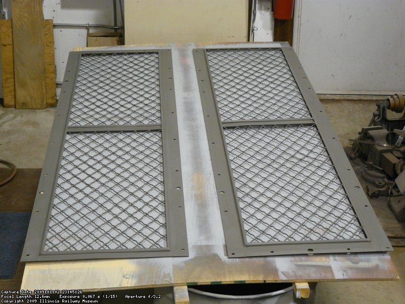 Radiator intake screens get prepped for paint.