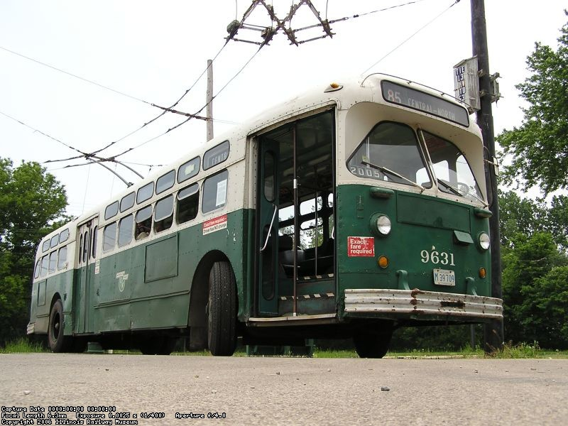 CTA Marmon 9631, sits outside the Trolley Coach Garage