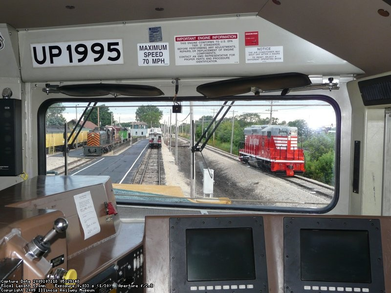 Looking out from the cab of the CNW Heritage Unit, we see the recently restored CB&Q 504, the CB&Q caboose, Minnesota Transfer 200, WC 7525, BN 5383 and CB&Q 9255