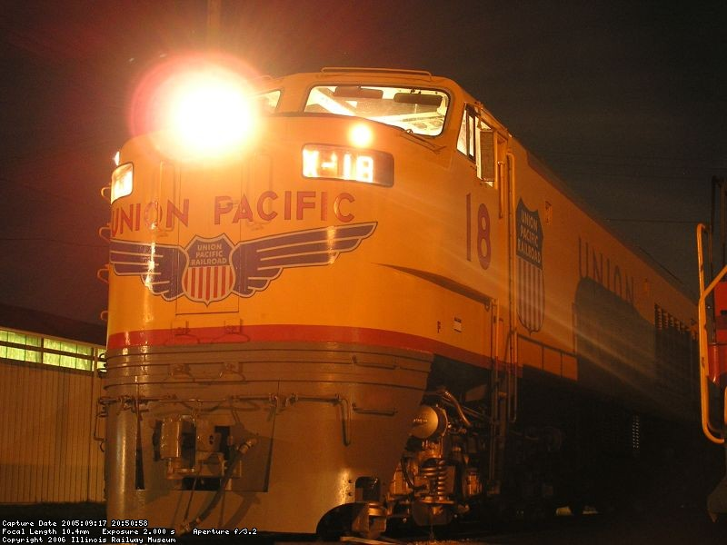 Union Pacific #18 a lit up at night.