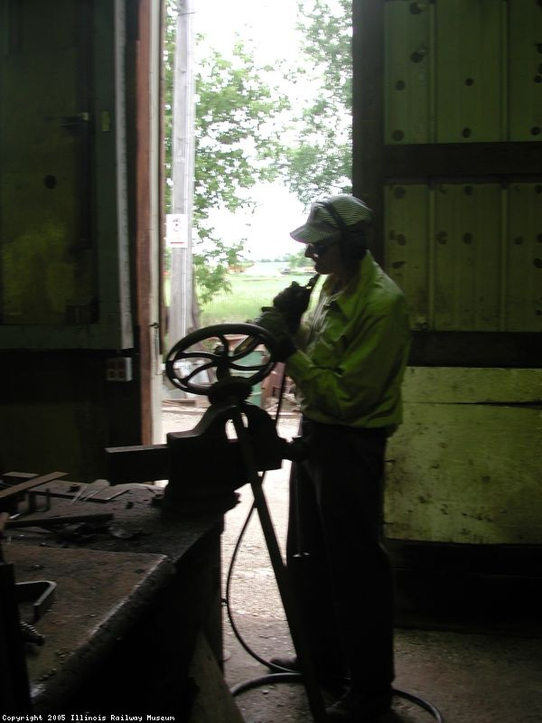 Richard Koch working on a brake wheel, June 2000