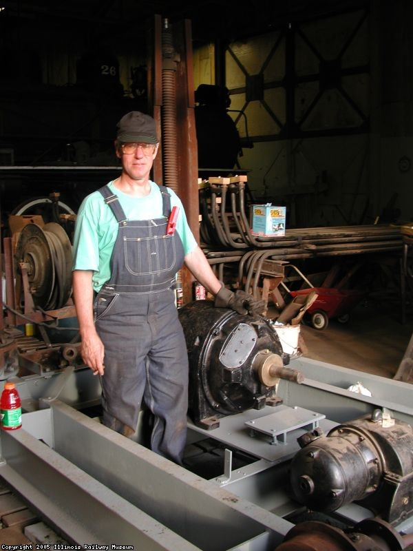 Frank Dusek working on drop pit, June 2000
