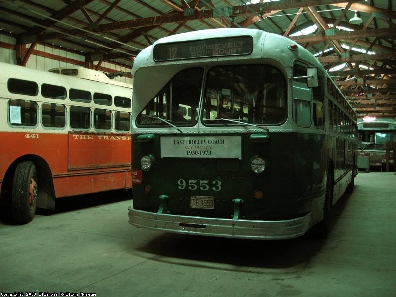 Chicago 9553 sits in the trolley bus barn