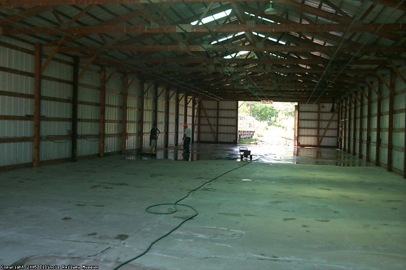 The new concrete floor, freshly poured in June 2003.
