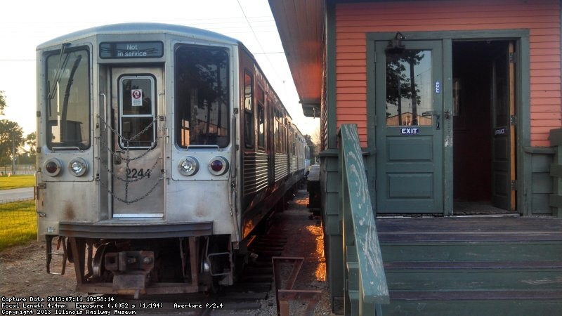 "2243-2244 at their first home on the west track of the 50th Avenue ""L"" station.  Photo by Nick Espevik"