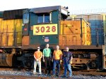 Left to Right.... M.I.C  Eric Zabelny, IRM Diesel Dept Curator James Kolanowski, Engineer Dave Hawley and Conductor Vern McElroy pose for a quick photo before 6847's trip from West Chicago to Union