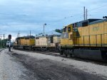 CNW 8701 on display from the Union Pacific looks towards two former mates of CNW 6847 and 4160