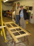 12.20.06 - JOHN NELLIGAN & BOB KUTELLA COMPLETE THE MORTISES AND TENONS ON A NEW DOOR.  THEY ARE VERY HAPPY THAT IT FIT!