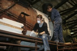 Eric and Evelina lagging the boiler