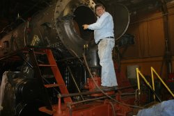 Dennis points out the smokebox work
