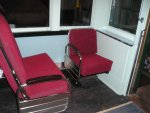 Nov 02, 2003, the first two reupholstered seats are installed in the coach section.